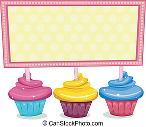 Cupcake Board - Illustration of a Board Sitting on Cupcakes