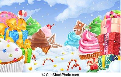 cupcake, cadeau, box., winter, zoet, landschap., kerstmis, achtergrond., 3d, vector, illustratie