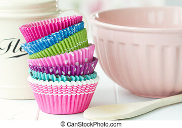 Colorful cupcake cases ready for baking