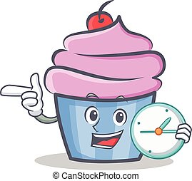 cupcake character cartoon style with clock