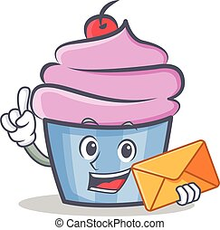 cupcake character cartoon style with envelope