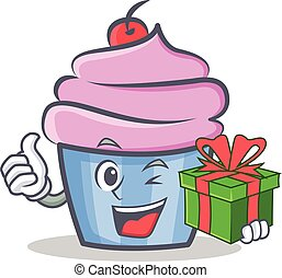 cupcake character cartoon style with gift