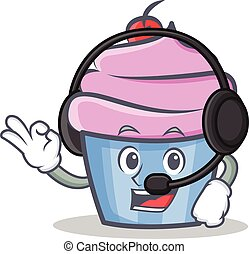 cupcake character cartoon style with headphone