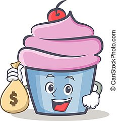 cupcake character cartoon style with money bag