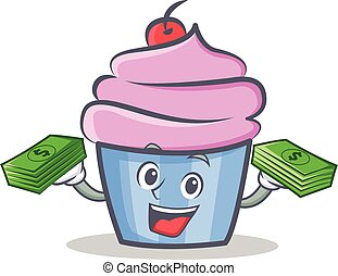 cupcake character cartoon style with money