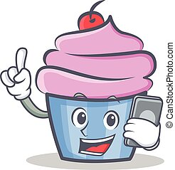 cupcake character cartoon style with phone