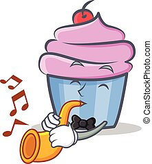cupcake character cartoon style with trumpet