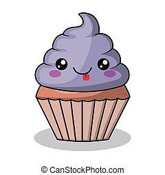 cupcake character kawaii style isolated icon design