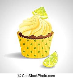 cupcake, com, limão