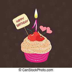 cupcake, compleanno, numero