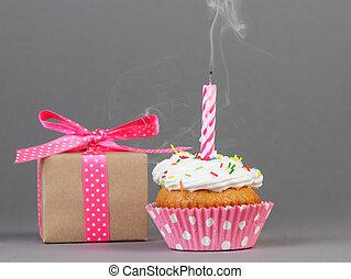 cupcake, con, caja obsequio
