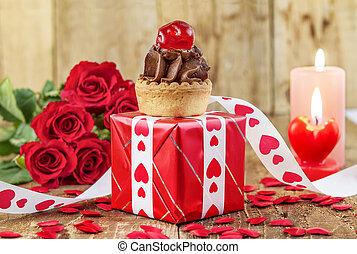 cupcake, con, cereza, encima, rojo, caja obsequio