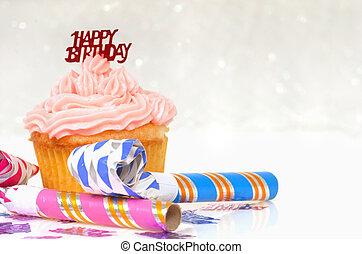 cupcake, con, cumpleaños, tema