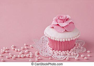 cupcake, con, rosa florece