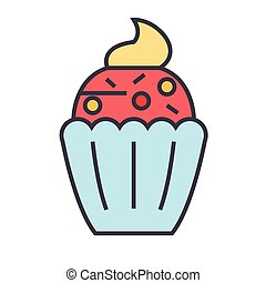 Cupcake concept. Line vector icon. Editable stroke. Flat linear illustration isolated on white background