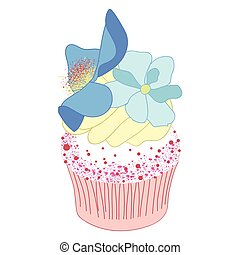 Cupcake decorated with Blue Poppy flowers