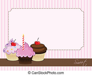 Illustration of delicious cupcakes.