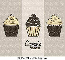 cupcake delicious over gray background vector illustration