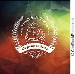 cupcake, desenho, etiqueta