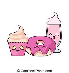 Cupcake donut and milkshake cartoon vector design