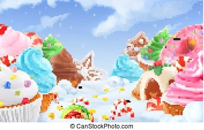 cupcake, elfje, cake., winter, zoet, landschap., kerstmis, achtergrond., 3d, vector, illustratie