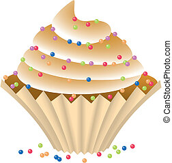 Cupcake with a chocolate cream. Isolated Vector...