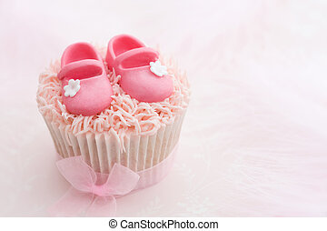 Pink cupcake decorated for a little girl
