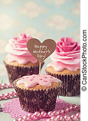 Cupcake with rose flowers for Mother's Day