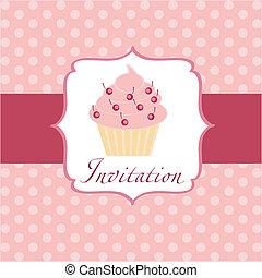 cupcake, fundo, convite