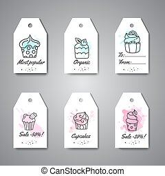 Cupcake gift tags with handdrawn cupcakes and pink splashes. Sweet pastry hanging. Bakery Desserts collection Vector