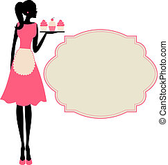 Illustration of a cute retro girl holding a tray with cupcakes.