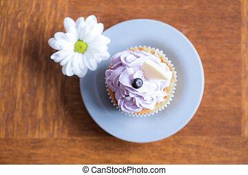 cupcake, glaseado, delicioso, arándano