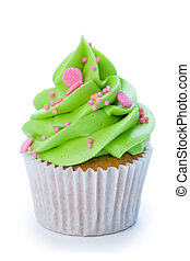 Cupcake - Green and pink cupcake isolated against a white...