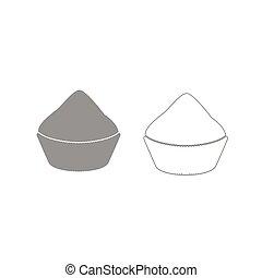 Cupcake grey set icon .