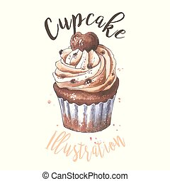 Cupcake. Hand drawn illustration sketch bakery icon.
