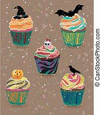 Cupcake happy halloween scary sweets.