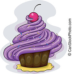 Cupcake Icing - Illustration of a Cake Covered with Icing
