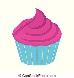 Cupcake icon. Fantasy World of the Unicorn. Cartoon style. Vector Illustration