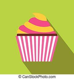 Cupcake icon, flat style