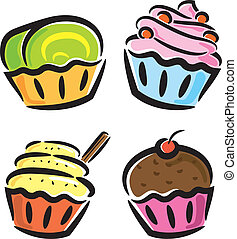 Cupcake icon in doodle style