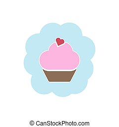 Cupcake icon on the white background for your design. Vector illustration.