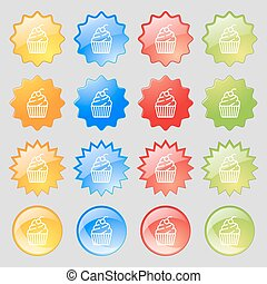 cupcake icon sign. Big set of 16 colorful modern buttons for your design. Vector