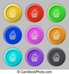 cupcake icon sign. symbol on nine round colourful buttons. Vector