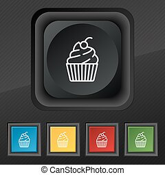 cupcake icon symbol. Set of five colorful, stylish buttons on black texture for your design. Vector