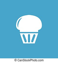 Cupcake icon, white