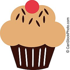 Cupcake icon with cream and sprinkles