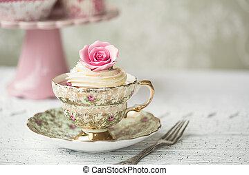 Cupcake in a vintage teacup - Rose cupcake in a vintage ...