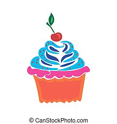 Cupcake in doodle style flat vector