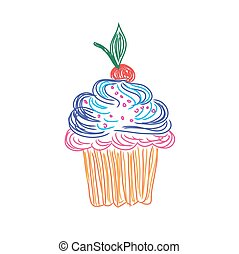 Cupcake in doodle style, sketch