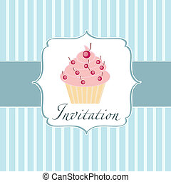cupcake, invitación, plano de fondo